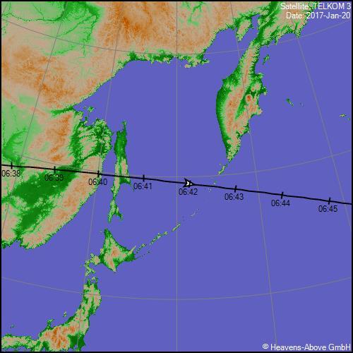 Satellite TELKOM 3 20/01/2017 05:42 TU (06:42 TL)   PassGTrackLargeGraphic.aspx?satid=38744&date=57773.237577&lat=48.6441&lng=6