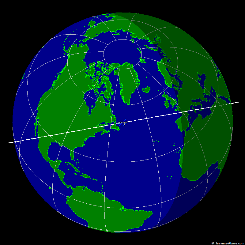 The ground track of ISS with its current position - The dashed part of the orbit path shows where the satellite is in the earths shadow, and the full part is where it is sunlit - Source: Heavens-Above.com