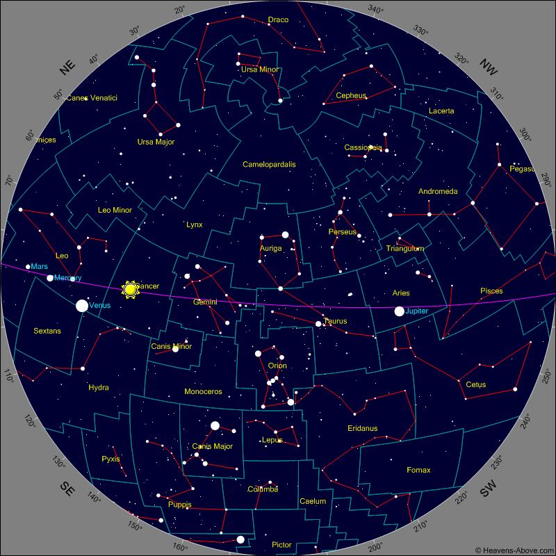 מפת כוכבים וכוכבי הלכת לשמי ישראל - עכשיו בשמים